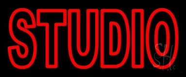 Double Stroke Red Studio Neon Sign