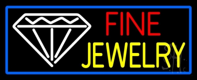 Fine Jewelry Blue Border Neon Sign