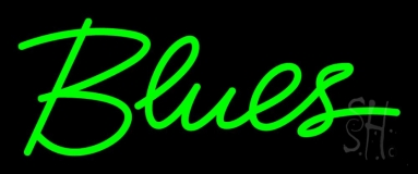 Green Blues Cursive 1 Neon Sign