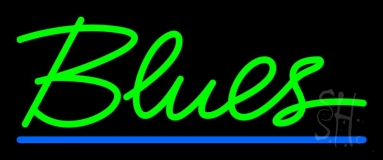 Green Blues Cursive 2 Neon Sign
