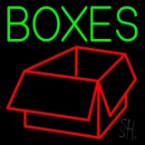 Green Boxes Logo Neon Sign