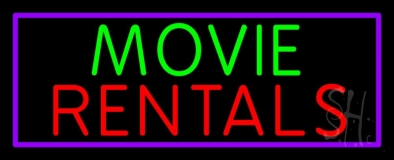 Green Movie Red Rentals Neon Sign