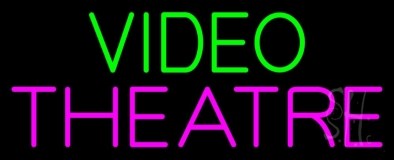 Green Video Pink Theatre Neon Sign