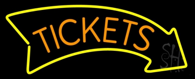 Orange Tickets Yellow Arrow Neon Sign