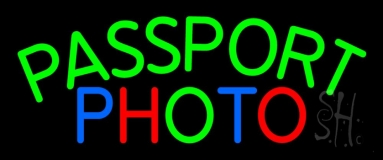 Passport Multi Color Photo Neon Sign