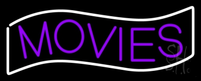 Purple Movies White Border Neon Sign
