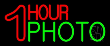 Red One Hour Photo Neon Sign