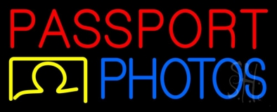 Passport Photos Block Logo Neon Sign