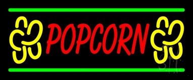 Red Popcorn Yellow Logo With Line Neon Sign