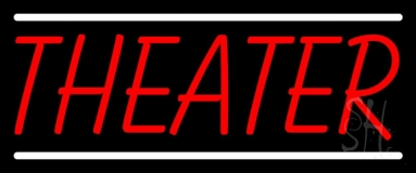 Red Theater White Line Neon Sign