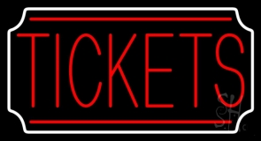 Red Tickets White Stylish Border Neon Sign