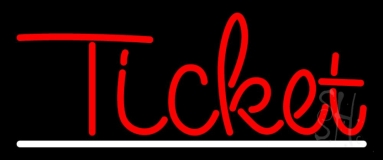 Red Ticket White Line Neon Sign