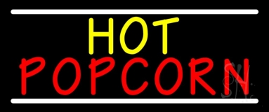 Yellow Hot Red Popcorn With Line Neon Sign