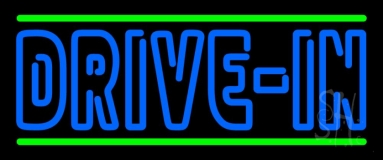 Blue Drive In Block Neon Sign