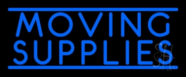 Blue Moving Supplies Double Line Neon Sign