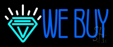 Blue We Buy Diamond Logo Neon Sign