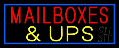 Mailboxes And Ups Block Blue Border Neon Sign