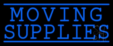 Moving Supplies Blue Double Lines Neon Sign