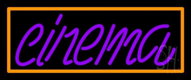 Purple Cinema With Border Neon Sign