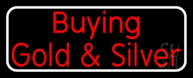 Red Buying Gold And Silver White Border Block Neon Sign