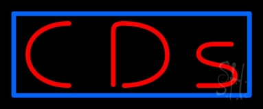Red Cds Blue Border Neon Sign