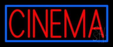 Red Cinema With Blue Border Neon Sign