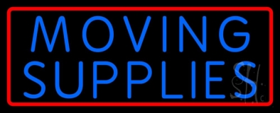 Blue Moving Supplies With Border Neon Sign