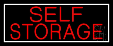 Red Self Storage White Border Neon Sign