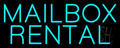 Turquoise Mailbox Rental Block Neon Sign