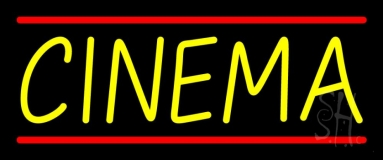 Yellow Cinema Red Line Neon Sign