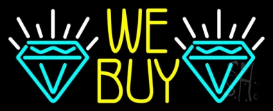 Yellow We Buy Turquoise Diamond Logo Neon Sign