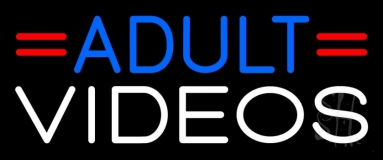 Blue Adult White Videos Neon Sign