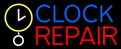 Clock Repair Block Neon Sign