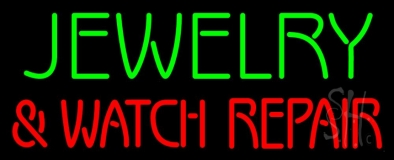 Green Jewelry Red And Watch Repair Block Neon Sign