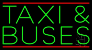 Green Taxi And Buses Neon Sign