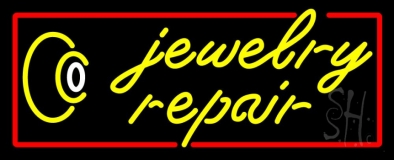 Jewelry Repair Red Border Neon Sign