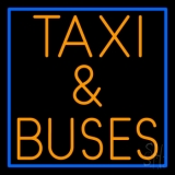 Orange Taxi And Buses With Border Neon Sign