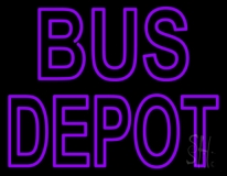 Purple Bus Depot Neon Sign