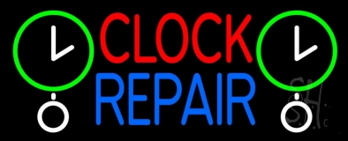 Red Clock Blue Repair Block Neon Sign
