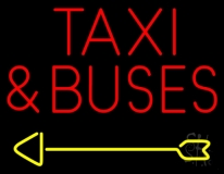 Red Taxi And Buses With Arrow Neon Sign