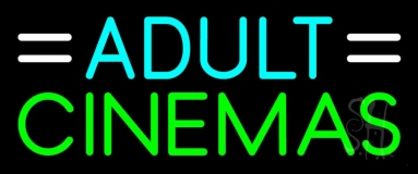 Turquoise Adult Green Cinemas Neon Sign