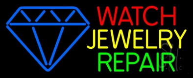 Watch Jewelry Repair With Blue Logo Neon Sign
