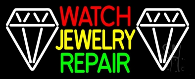 Watch Jewelry Repair With White Logo Neon Sign