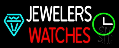 White Jewelers Red Watches Neon Sign