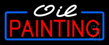 White Oil Red Painting With Border Neon Sign
