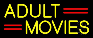 Yellow Adult Movies Neon Sign