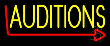 Yellow Auditions Arrow Neon Sign