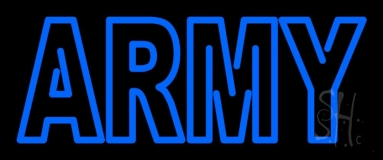 Blue Army Neon Sign