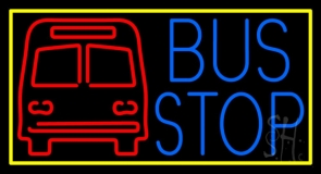 Blue Bus Stop With Yellow Border Neon Sign
