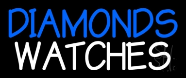 Blue Diamonds White Watches Neon Sign